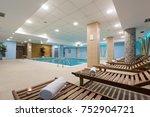 indoor swimming pool in hotel... | Shutterstock . vector #752904721