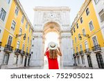 young woman tourist in red... | Shutterstock . vector #752905021