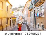 woman tourist walking back on... | Shutterstock . vector #752905237