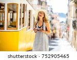 young and happy woman tourist... | Shutterstock . vector #752905465