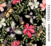 beautiful bright watercolor... | Shutterstock . vector #752925211