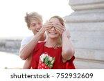 young man hiding girlfiends... | Shutterstock . vector #752932609
