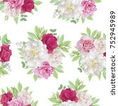 seamless pattern with white and ... | Shutterstock . vector #752945989