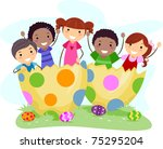 illustration of kids sitting on ... | Shutterstock .eps vector #75295204