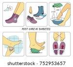 foot care in diabetes | Shutterstock .eps vector #752953657