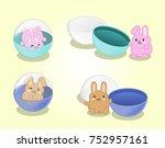 little bunnies in gashapon... | Shutterstock .eps vector #752957161