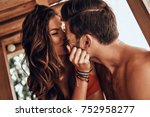 happy to be in love. beautiful... | Shutterstock . vector #752958277