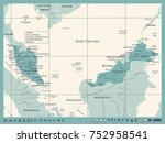 malaysia map   vintage detailed ... | Shutterstock .eps vector #752958541