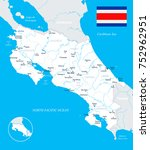 costa rica map and flag   high... | Shutterstock .eps vector #752962951
