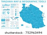 tanzania map   detailed info... | Shutterstock .eps vector #752963494