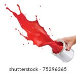 pouring red paint from its... | Shutterstock . vector #75296365