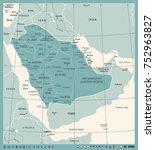 saudi arabia map   vintage... | Shutterstock .eps vector #752963827