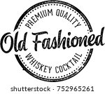 old fashioned whiskey cocktail | Shutterstock .eps vector #752965261