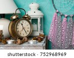 pink gray dream catcher   alarm ... | Shutterstock . vector #752968969