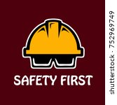 safety helmet and glasses for... | Shutterstock .eps vector #752969749