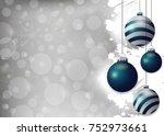 silver christmas background...   Shutterstock .eps vector #752973661