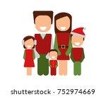 happy christmas family. vector... | Shutterstock .eps vector #752974669