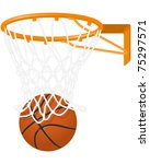 basketball hoop and ball | Shutterstock .eps vector #75297571