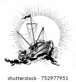 ink black and white... | Shutterstock . vector #752977951