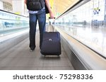 traveler with a suitcase on the ... | Shutterstock . vector #75298336