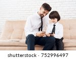 father and son spend time... | Shutterstock . vector #752996497