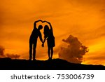 silhouette lover on a mound at... | Shutterstock . vector #753006739