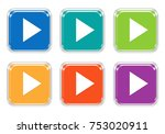 set of rounded square colorful... | Shutterstock . vector #753020911