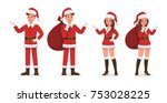 santa claus man and woman... | Shutterstock .eps vector #753028225