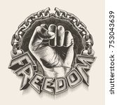 hand breaking chains  freedom... | Shutterstock .eps vector #753043639