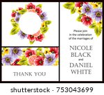 invitation with floral... | Shutterstock .eps vector #753043699