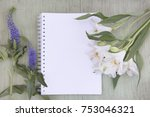 mockup with blank notepad.... | Shutterstock . vector #753046321