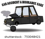 car accident was demolished on...   Shutterstock .eps vector #753048421