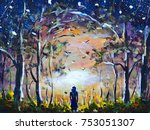 original oil painting a girl in ... | Shutterstock . vector #753051307