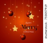 merry christmas background with ... | Shutterstock .eps vector #753057919