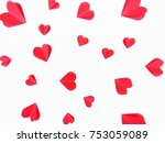 red paper hearts isolated on... | Shutterstock . vector #753059089