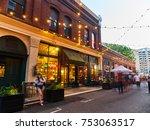 downtown night life scene  | Shutterstock . vector #753063517