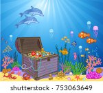 treasure chest in underwater... | Shutterstock . vector #753063649