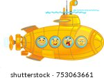 submarine with emoticon | Shutterstock . vector #753063661