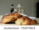 homemade challah for shabbat...   Shutterstock . vector #753075814