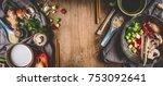 vegetarian asian cuisine... | Shutterstock . vector #753092641