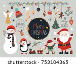 christmas collection with... | Shutterstock .eps vector #753104365
