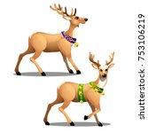 set of animated christmas deer... | Shutterstock .eps vector #753106219