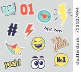 vector set of fashion patches... | Shutterstock .eps vector #753107494