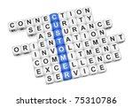 Customer relations crossword on white background 3D render - stock photo