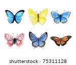 colection of six hand drawn... | Shutterstock . vector #75311128