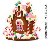 festive cake in shape of... | Shutterstock .eps vector #753112465