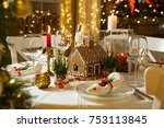 beautiful served table with... | Shutterstock . vector #753113845