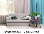modern design of living room... | Shutterstock . vector #753120955