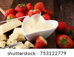 chocolate fondue melted with... | Shutterstock . vector #753122779