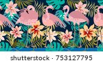 red flamingos and tropical... | Shutterstock .eps vector #753127795
